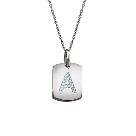 """A"" Initial Rectangular Pendant With Diamonds In 10ct White Gold"