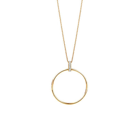 Circle Drop Pendant With Diamonds In 10kt Yellow Gold