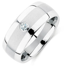9mm Men's Diamond Set Ring in White Tungsten