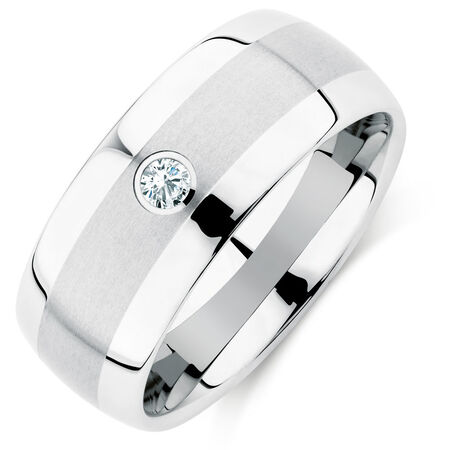 9mm Men's Diamond Set Ring in White Tungsten