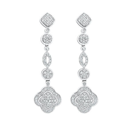 Drop Earrings with 3/4 Carat TW of Diamonds in 10kt White Gold