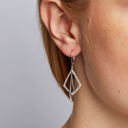 Drop Earrings with 1/20 Carat TW of Diamonds in Sterling Silver