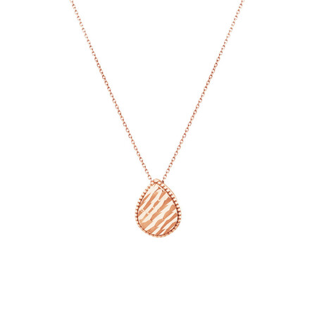 Patterned Pear Pendant in 10kt Rose Gold