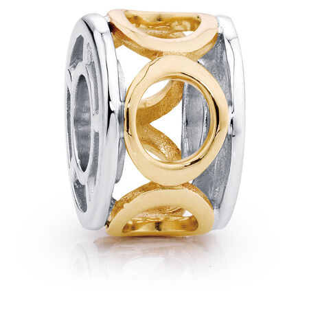 10kt Yellow Gold & Sterling Silver Circle Charm