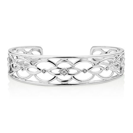 Cuff with 1/20 Carat TW of Diamonds in Sterling Silver