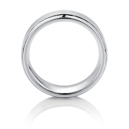 9mm Men's Ring in White Tungsten