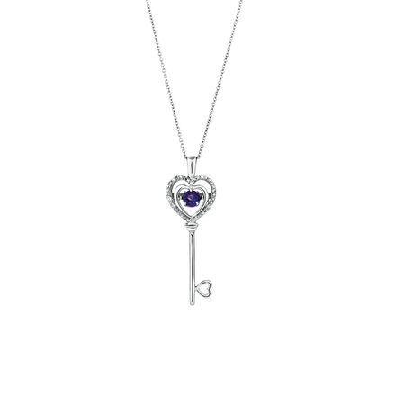 Everlight Key Pendant with Amethyst & Diamonds in Sterling Silver