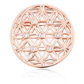 Cubic Zirconia & 10kt Rose Gold Flower Pattern Coin Locket Insert