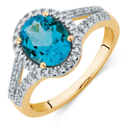 Online Exclusive - Ring with a Blue Topaz & Diamonds in 10kt Yellow Gold