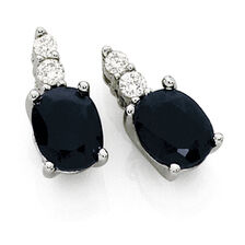 Drop Earrings with Sapphire & Diamonds in 10kt White Gold