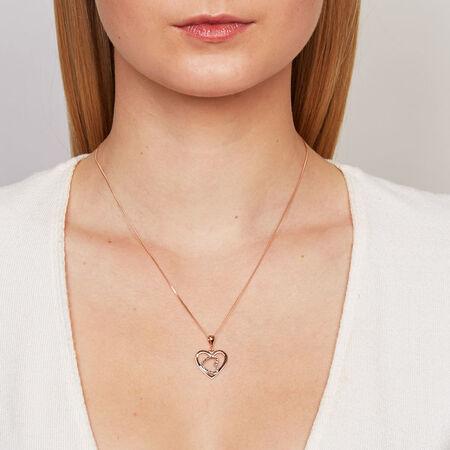 Heart Pendant in 10kt White & Rose Gold