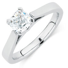 Certified Solitaire Engagement Ring with a 1 Carat Diamond in 14kt White Gold