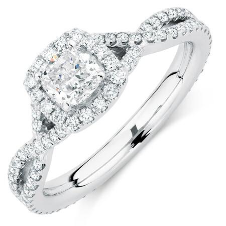 Sir Michael Hill Designer GrandAdagio Engagement Ring with 1 1/5 Carat TW of Diamonds in 14kt White Gold