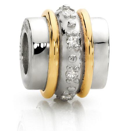 Diamond Set, 10kt Yellow Gold & Sterling Silver Charm