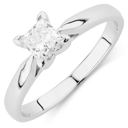 Evermore Solitaire Engagement Ring with 0.70 Carat Diamond in 14kt White Gold
