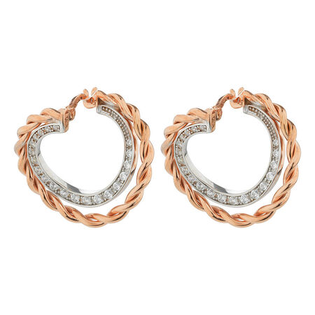 Online Exclusive - Twist Hoops with Cubic Zirconia in 10kt Rose & White Gold