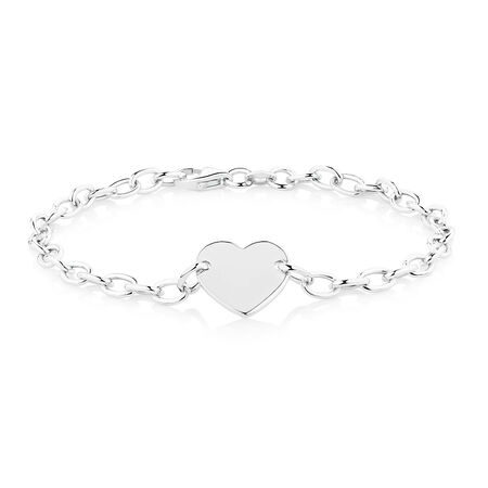 "19cm (7.5"") Heart Disc Bracelet in Sterling Silver"