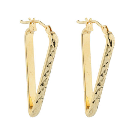 Online Exclusive - Geometric Hoop Earrings in 10kt Yellow Gold