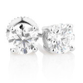 Certified Stud Earrings with 1 Carat TW of Diamonds in 14kt White Gold