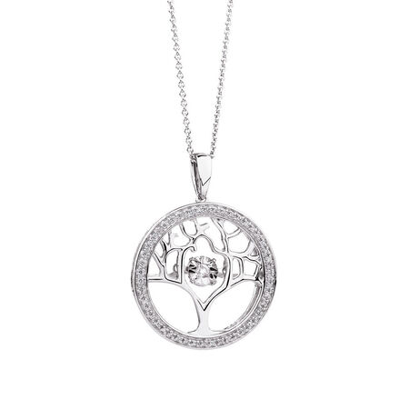 Everlight Tree of Life Pendant with 1/10 Carat TW of Diamonds in Sterling Silver