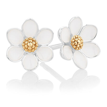 White Enamel, Sterling Silver & 10kt Yellow Gold Daisy Stud EarringsWhite Enamel, Sterling Silver & 10kt Yellow Gold Daisy Stud Earrings