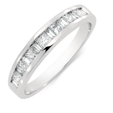 Wedding Band with 1/2 Carat TW of Diamonds in 18kt White Gold
