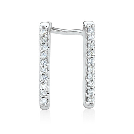 Bar Stud Earrings with Diamonds in 10kt White Gold