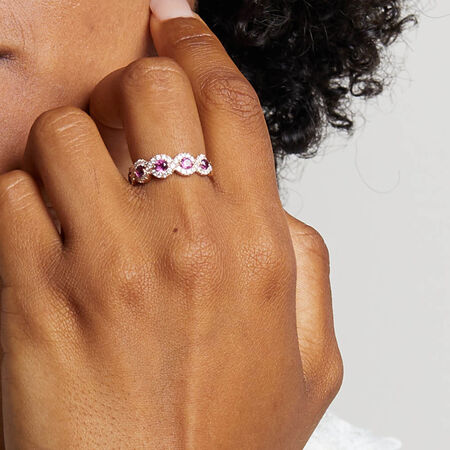 Ring with 0.46 Carat TW of Diamonds & Rhodolite Garnet in 14kt Rose Gold