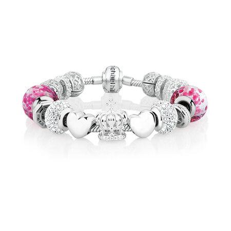 Pink Glass & Sterling Silver Starter Charm Bracelet