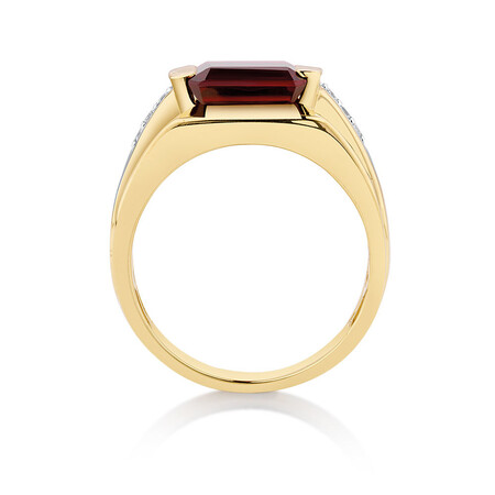 Men's Ring with Created Garnet & Diamonds in 10kt Yellow Gold