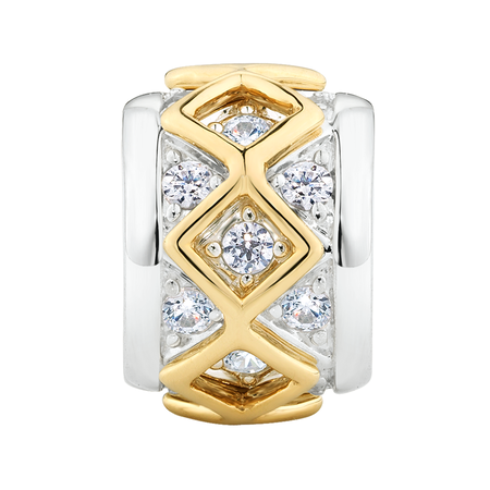 Cubic Zirconia Set, 10kt Yellow Gold & Sterling Silver Charm