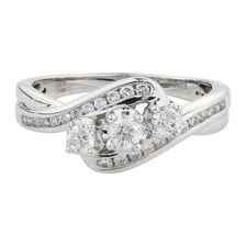 Online Exclusive - Three Stone Ring with 1/2 Carat TW of Diamonds in 10kt White Gold