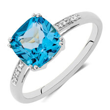 Online Exclusive - Ring with Blue Topaz & Diamonds in 10kt White Gold