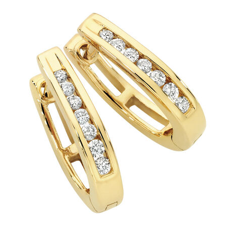 Hoop Earrings with 1/6 Carat TW of Diamonds in 10kt Yellow Gold