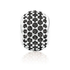 Pave Set Charm with Black Crystal in Sterling Silver