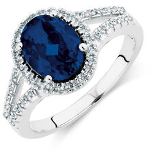 Ring with a Created Sapphire & 1/10 Carat TW of Diamonds in 10kt White Gold