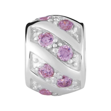 Pink Cubic Zirconia & Sterling Silver Charm