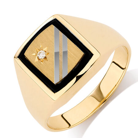Men's Diamond Set Ring with Black Onyx in 10kt Yellow & White Gold