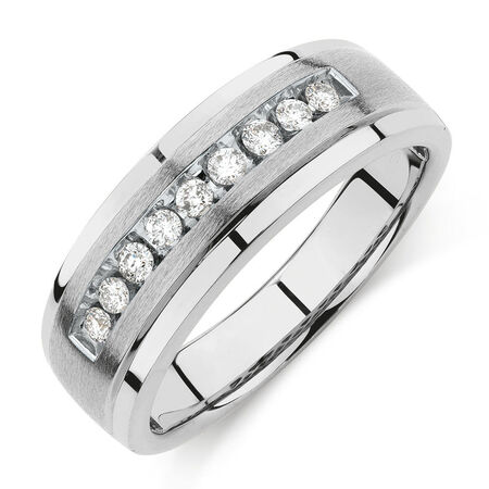 Men's Ring with 1/4 Carat TW of Diamonds in 10kt White Gold