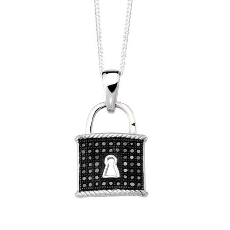 Padlock Pendant with 1/8 Carat TW of Enhanced Black Diamonds in Sterling Silver
