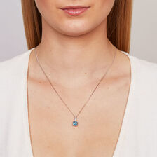 Online Exclusive - Pendant with Blue Topaz & Diamond in 10kt White Gold