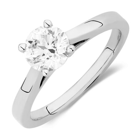 Online Exclusive - Certified Solitaire Engagement Ring with a 0.95 Carat Diamond in 14kt White Gold