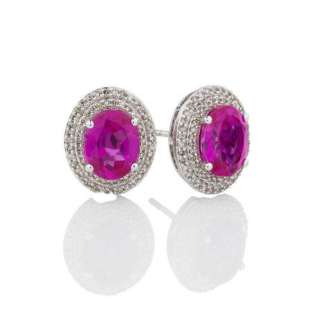Online Exclusive - Halo Earrings with Created Pink Sapphire & 0.39 Carat TW of Diamonds in 10kt White Gold