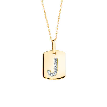 """J"""" Initial Rectangular Pendant With Diamonds In 10kt Yellow Gold"""