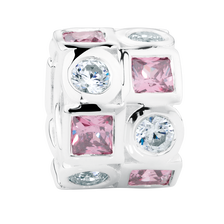 Pink & White Cubic Zirconia & Sterling Silver Charm