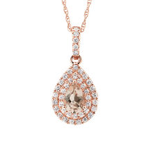 Sir Michael Hill Designer Fashion Pendant with Morganite & 1/5 Carat TW of Diamonds in 10kt Rose Gold