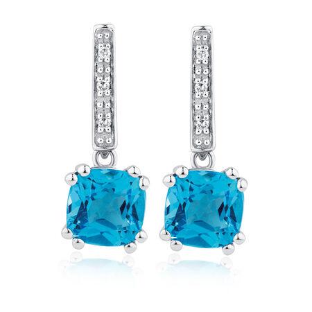 Drop Earrings with Blue Topaz & Diamonds in 10kt White Gold