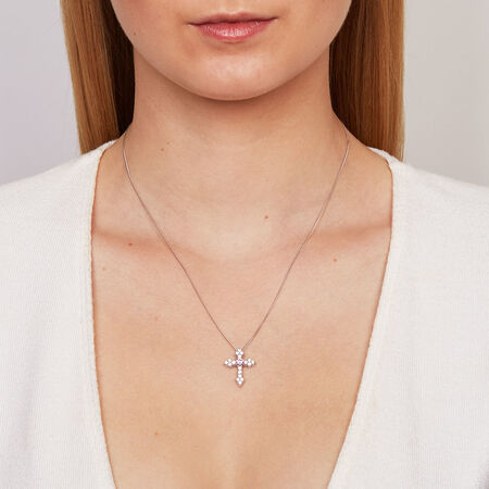 Cross Pendant with Pink & White Cubic Zirconias in Sterling Silver