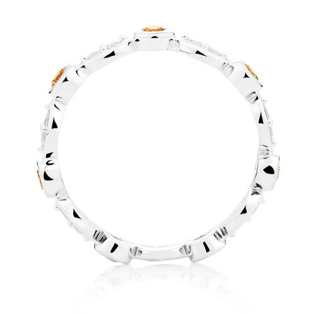 White & Champagne Cubic Zirconia Stack Ring