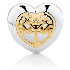 Filigree Tree of Life Heart Charm in Sterling Silver & 10kt Yellow Gold
